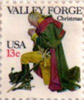US postage stamp, 13 cents.  Valley Forge, Christmas.  Issued 1977.  Scott catalog 1729.