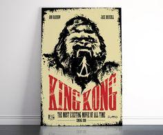 King Kong Poster, illustration, Movie Poster, Splatter, ink & brush