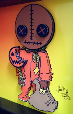 This Trick r Treat Sam horror art feature the mysterious pint sized creature wearing his shabby orange pajamas with a burlap sack over his head. The artwork also features Sam's iconic lollipop and candy sack.