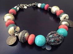 Vintage Rare Sherpa Coral Necklace, Coin Pendant, Turquoise Magnesite, Tibetan Beads, Conch Beads, African Recycled Glass Beads, Spiritual