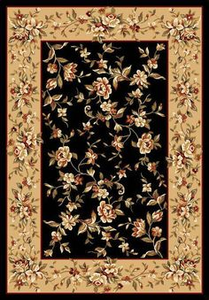Cambridge Black/Beige Floral Delight Area Rug
