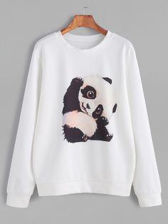 Sudadera con estampado de panda - blanco-Spanish SheIn(Sheinside)