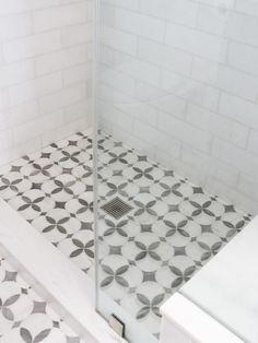 White marble shower threshold