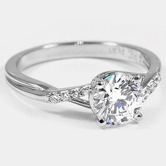 Platinum Chamise Diamond Ring // Set with a 1.31 Carat, Round, Very Good Cut, E Color, VS1 Clarity Diamond #BrilliantEarth