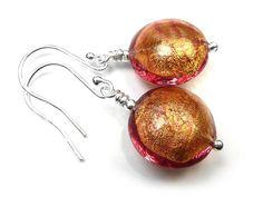 Murano Glass Lentil Earrings - Copper Copper Earrings, Glass Earrings, Copper Glass, Murano Glass Beads, Gold Foil, Sterling Silver Jewelry, Lens, Klance, Lentils