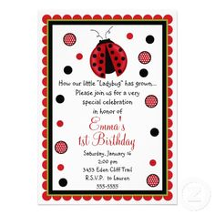 15 best ladybug first birthday invitations images on pinterest ladybug birthday invitations filmwisefo