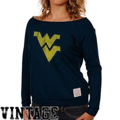 Original Retro Brand West Virginia Mountaineers Ladies Open Neck Raglan Fleece Sweatshirt - Navy Blue