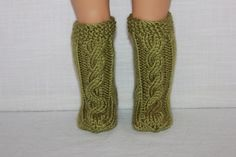 hand knit socks, green knee high cable socks, doll socks, 18 inch doll clothes by UpbeatPetites on Etsy