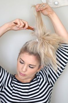 Top knot for thin hair -- great tutorial.