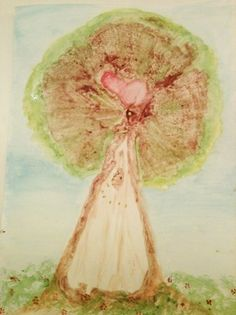 Placenta Print with added watercolors - beautiful