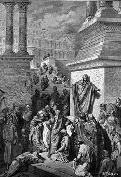 St-Takla.org Image: Jonah preaches in Nineveh. Dore. Jonah 3:4 صورة في موقع الأنبا تكلا: يونان النبي يعظ في نينوى (يو 3: 4) - رسم الفنان جوستاف دوريه