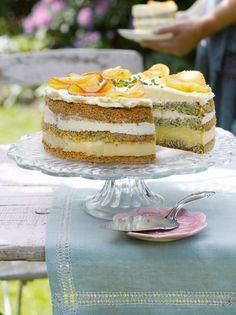 Apfelcremetorte mit Mohnbiskuit Foto © Maike Jessen für ARD Buffet Magazin