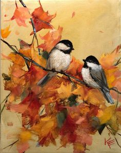 Excited to share this item from my shop chickadee fall leaves by Krista Eaton original art 11 bird birds decorative oil painting original Bird Paintings On Canvas, Small Paintings, Easy Paintings, Canvas Art, Bird Painting Acrylic, Painting Tips, Oil Painting On Canvas, Autumn Painting, Autumn Art