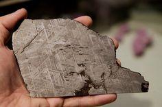 Via Olafur Eliasson: Out of space geometry - sliced meteorite revealing intricate Widmanstätten pattern.