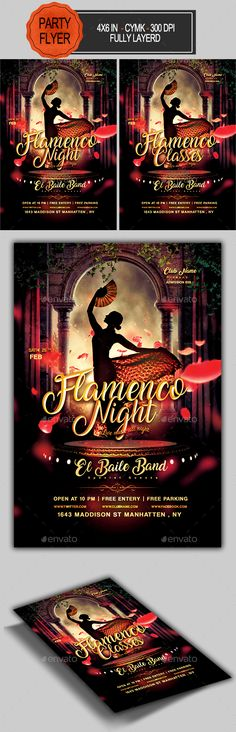 Buy Flamenco Night Flyer by seasonOFTHEflowers on GraphicRiver. with bleed, CMYK, 300 DPI Files included: 1 PSD Editable File , Help File. editable Model not included F. Free Flyer Templates, Event Flyer Templates, Print Templates, Game Design, Flyer Design, Cuba Dance, Flyer Inspiration, Flamenco Party, Latin Party