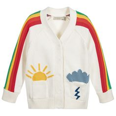 Stella McCartney Kids - Girls Ivory Knitted 'Peanut' Rainbow Cardigan | Childrensalon