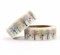 Washi Tape Fall Autumn Pastel Leaves Tree Bird by PaperPenStickery