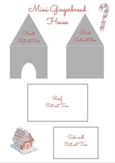 Gingerbread houses...Large, Mini and Extra Mini mug sized templates.