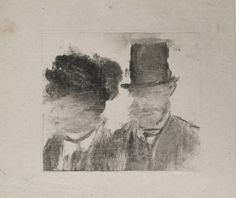 Edgar Degas. Heads of a Man and a Woman (Homme et femme, en buste). c. 1877–80. Monotype on paper. MoMA Collection.