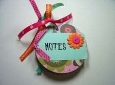 Pink and Aqua Chipboard Notebook mini notebook by HampshireRose, $15.00