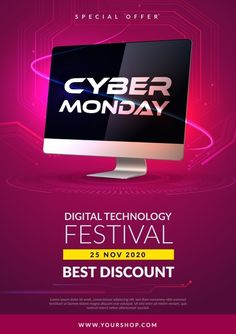 Winter Background, Cyber Monday Sales, Sale Banner, Digital Technology, Happy Girls, Flyer Template, Flyer Design, Vector Free, Neon Signs