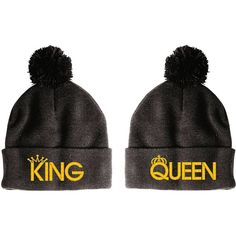 Amazon.com: King-Queen Pom Pom-2 Beanie-Black: Clothing ($25) ❤ liked on Polyvore featuring accessories, hats, knit beanie caps, pom pom beanie, beanie hat, knit beanie and pompom hat