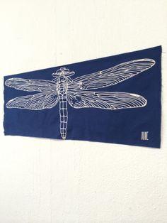 """akizu ... dragon fly  c/# blue   tenugui """"cu3"""""""