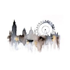 London city abstract ART PRINT watercolor painting via Etsy Art Inspo, Inspiration Art, Oeuvre D'art, Art Paintings, Painting & Drawing, Drawing Tips, Drawing Ideas, Amazing Art, Awesome