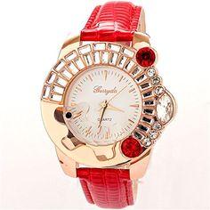 BUYEONLINE Womens Fashion Big Diamond Rhinestone Dogs Casual Watch Red     Want additional info  37c20d3cd66e6