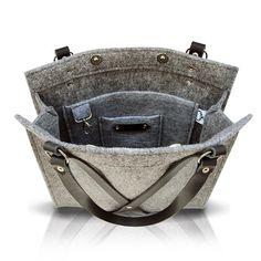 Felt Bag With Leather Handle FOX BLACK BAG by MOOSEdesignBAGS, $126.70