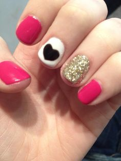 Hot pink with glitter and heart accents
