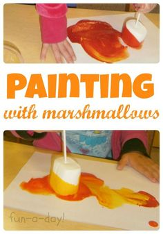 Painting With Marshmallows Is Such A Fun Camping Theme Art Idea
