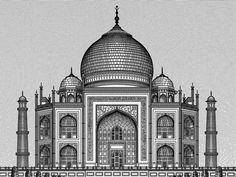 The Taj, Agra taj mahal illustration woodblock india palace Taj Mahal Sketch, Taj Mahal Drawing, Mandala Art Lesson, Mandala Drawing, Art Drawings Sketches Simple, Pencil Art Drawings, Architecture Drawing Sketchbooks, Pencil Sketches Architecture, Building Sketch