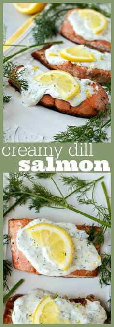 Creamy Dill Salmon Creamy Dill Salmon The Easiest Most Delicious Salmon You Ll Ever Make Pan Fried Salmon Covered In A Creamy Lemon Dill Sauce That Made With Only Three Ingredients Recipe Salmon Fish Dill Seafood Easy Dinner Dill Recipes, Baked Salmon Recipes, Seafood Recipes, Dinner Recipes, Healthy Recipes, Fish Recipes With Dill, Dinner Ideas, Easy Fish Recipes, Sushi Recipes