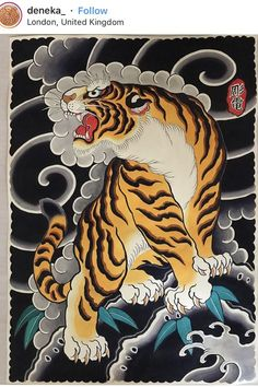 half sleeve tattoo designs and meanings Japanese Tiger Tattoo, Japanese Tattoos For Men, Japanese Tattoo Designs, Japanese Sleeve Tattoos, Japanese Tiger Art, Tattoo Girls, Tiger Tattoo Design, Japan Tattoo Design, Asian Tattoos