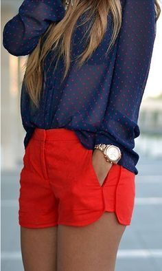 Love the shorts. Love the side detail and the fitted style. Not too short, but not mid thigh either. I like them in red or probably any color. Blouse looks nice. Might be sheer... Like it either way.