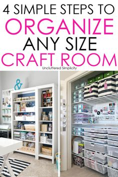 4 Simple Steps To Organize Craft Supplies: Conquer Craft Clutter - - How to organize craft supplies to unleash your inner creativity and create the craft room of your dreams! Categorize items so you know where to to find them when you need them.