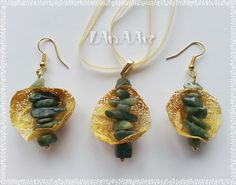 GOLDEN SILK COCOON jewelry set - pendant and earrings of Indonesian silk cocoons & jade mineral stones, golden plated earrings wire, ooak by LanAArt on Etsy