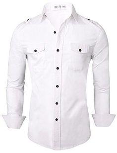 Men's Stylish Shirts Tom's Ware Slim Fit Plain Button Down Dress Shirts