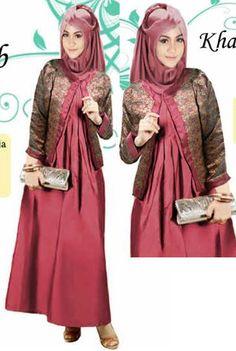 Farah Tosca Long Dress Satin Cardigan Songket India