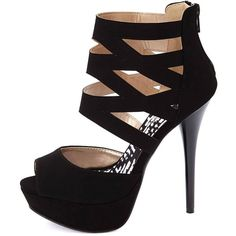 Charlotte Russe Qupid Caged Ankle Cuff Peep Toe Platform Heels ($36) ❤ liked on Polyvore featuring shoes, pumps, heels, sapatos, high heels, black, platform stiletto pumps, sexy pumps, black strap pumps and peep toe platform pumps