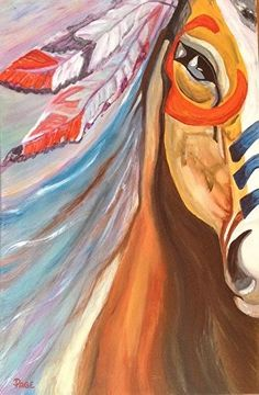 """Imagine this painting as a watercolor tattoo with a Native American woman's face underneath the pony's face as a thigh tattoo. """"Native American Painted War Pony by michele """"PAGE"""" webster Acrylic ~ 36 x Native American Drawing, Native American Horses, Native American Decor, Native American Paintings, American Indian Art, Native American Bedroom, Native American Artists, Horse Drawings, Art Drawings"""
