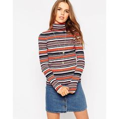 ASOS Co-ord Jumper In Stripe With Roll Neck (€34) ❤ liked on Polyvore featuring tops, sweaters, multi, white striped sweater, asos jumper, white jumper, striped sweater y stripe sweater
