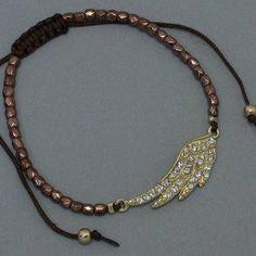 $7.99 Amazon.com: Womens Beaded Bracelet with Rhinestone Angel Wings, Gold & Dark Brown/Chocolate Feather: Jewelry