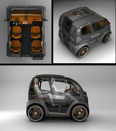 Mirrow Provocator Russian revolutionary city car, will be the same length as the Smart Fortwo, but for 4 persons and their luggage. Mirrow Provocator could be… Small Electric Cars, Electric Bike Kits, Electric Tricycle, Monospace, Microcar, Car Gadgets, Smart Car, City Car, Future Car