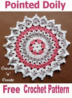 crochet mandala pattern Pointed Doily Free Crochet Pattern - Beautiful doily pattern, crocheted in 3 pretty colors. Give a lacy look to every room in your home. Made in soft cot Crochet Hot Pads, Bag Crochet, Thread Crochet, Crochet Crafts, Crochet Stitches, Crochet Projects, Diy Crafts, Free Crochet Doily Patterns, Crochet Motif