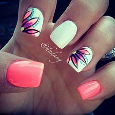 Nail art is a very popular trend these days and every woman you meet seems to have beautiful nails. It used to be that women would just go get a manicure or pedicure to get their nails trimmed and shaped with just a few coats of plain nail polish. Fancy Nail Art, Fancy Nails, Love Nails, My Nails, Coral Nails, White Nails, Orange Nails, Bright Nail Art, Nails Today