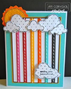card. could make rainbow w/ ribbon or Washi tape overlayed w/ bakers twine.
