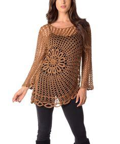 Look at this #zulilyfind! Brown Sheer Crochet Sweater - Plus by Diva Designs #zulilyfinds