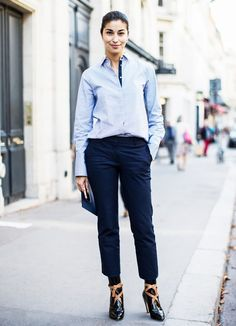Button-Down Shirt + Trousers + Statement Boots
